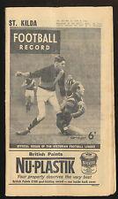 1962 Football Record St Kilda v Carlton Home & Away June 9 Saints Blues