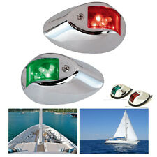 1Pair Marine Bow Boat Yacht Navigation Side Light Stainless Steel Green Red Lamp