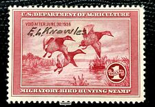 1935 US Federal Duck Stamps SC#RW2 Signatured by E.L Knowles CV:$160