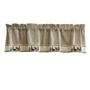 """1 Wilderness Trail Embroidered Bear Moose Country Cabin Lined Valance 60"""" x 14"""""""