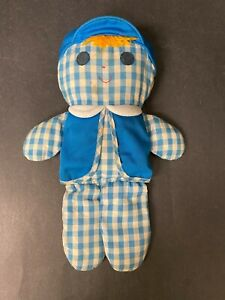 Vintage Fisher Price Cholly Doll 419 Blue Plaid Cloth Rattle 1977
