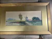 "Antique A Butte ""Dutch Landscape Scene"" Watercolor & Gouache Painting - Framed"