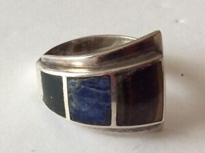 Sterling 925 Silver Multi Gemstone Inlay Ring Size 8 Vintage ESTATE Jewelry