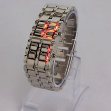 NEW Men Fashion Elegant Lava Design LED Red Digital Display Wrist Watch Silver
