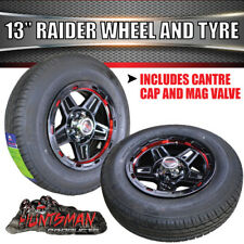 "13"" & 165 LT Tyre Raider Alloy Mag Wheel suits Ford Caravan Trailer Boat Jetski"