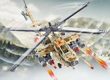AH-64 Apache Military Helicopter + Army Figure Compatible Building Bricks 670pcs