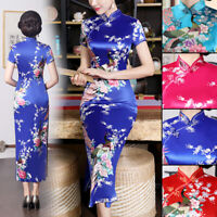 Chinese Style Dress Qipao Embroidery Long Floral Maxi Cheongsam Short Sleeve