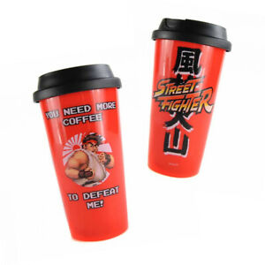 Street Fighter TRAVEL MUG Ryu Plastic 450ml You Need More Coffee To Defeat Me