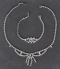 "COSTUME JEWELRY- MATCHING SILVER & DIAMONDS 7-1/2 "" BRACELET & 15 INCH NECKLACE"