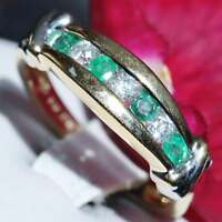 14k multi tone gold ring 0.70ct Colombian emerald diamond size 7.25 band 3.6gr
