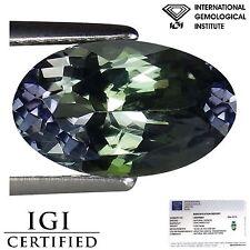 2.02 Ct IGI Certified AA Natural D Block Tanzanite Green Violet Color Oval Cut