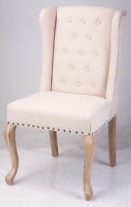French Provincial Wingback Button and Stud Feature Arm Chair