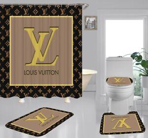 """4PCS Shower Curtain Gucci Bathroom Carpet Set Bath Mat Non-slip Cover 70 """"x 70"""""""