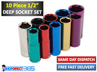 "10 Piece 1/2"" Drive Multi Coloured Deep Socket Set With Rail 13mm to 24mm CT0910"