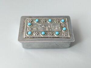 Vintage Jerusalem Metal Trinket or Pill Box Hinged Lid