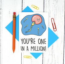 One In a Million Sperm Pun Anniversary Card - Funny Valentines Day Card