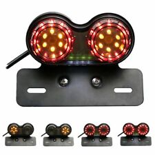 Motorcycle Smoke LED Dual Tail Turn Signal Brake License Plate Integrated Light