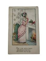 Vtg Christmas Holiday Greetings 1917 Postmark Victorian Lady in Pink Postcard