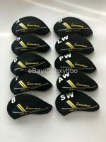 10PCS Iron Headcovers for TaylorMade RBZ Rocketballz Club Covers Black&Black SET