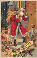 Christmas Postcard Santa Claus and Cherub Angels Delivering Toys and Food~124241