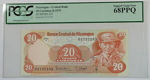 D.1979 Nicaragua 20 Cordobas Note SCWPM# 135 PCGS 68 PPQ Superb Gem New