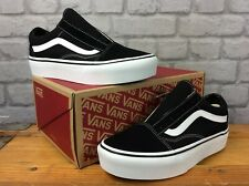 VANS LADIES UK 5.5 EU 38.5 OLD SKOOL PLATFORM BLACK WHITE SUEDE TRAINERS LB