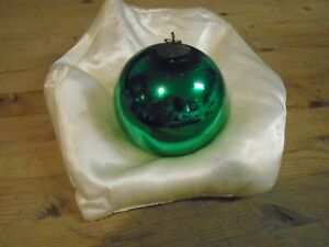 antique  kugel green Embossed top  round Christmas bauble 3 1/2 inches