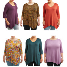 Terra & Sky Women's Plus Size Tunic Length Quarter Sleeve T-Shirt
