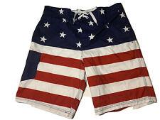 New listing Bioworld Mens Board Swim Shorts Red White Blue Stars & Stripes Size Large