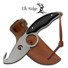 Elk Ridge Knives ER-529BW Titanium Coated Hunt Knife with Guthook Blade  Sheath
