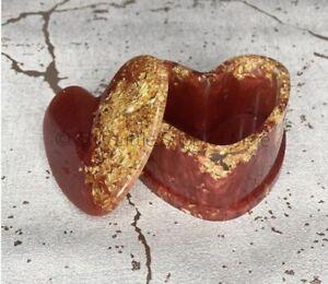 Handmade Heart Shape Red Gold Storage Box Trinket Jewellery Pot Gift Valentines
