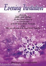 Winter Wedding Invitations Evening Day Christmas Snowflake x 12 H0051