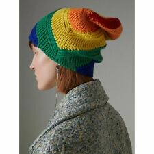 b9a5151e New Burberry Rainbow Pride Stripe Cashmere Wool Knit Beanie Hat Cap LGBT  Italy