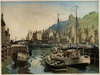 JAMES PRIDDEY (1916-1980) Signed Aquatint Etching WHITBY HARBOUR - 20TH CENTURY