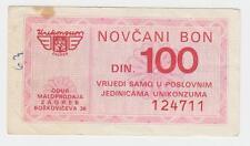 Local note 100 Dinara Nd1980's Unikonzum - Zagreb Croatia, Very Rarre Note !