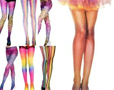 RAINBOW ZIG ZAG Tie STRIPE ANIMAL LEOPARD KNITTED Opaque FISHNET TIGHTS FESTIVAL