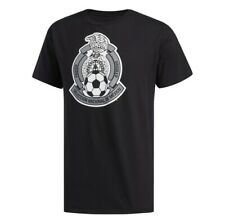 Adidas Mexico Soccer Large Crest Black T-Shirt FU0317 Men's Size Large