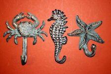 (3) Cast Iron Nautical Decor, Seahorse, Crab, Starfish, Ocean, N-24,25 Bl-34