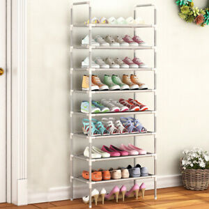 8 Tier Shoes Storage Rack Stand Shelf Organiser Holder Metal Tubes for 24 pairs