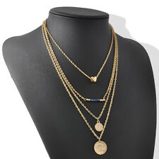 Gold Women Gold Chain 4 layer Chunky Statement Pendant  Necklace Jewelry Gift
