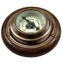 Antique Brass Compass Wood Base Maritime Paper Weight Collectible