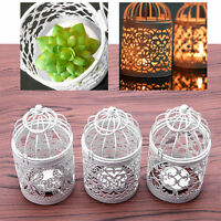 Metal Hollow Candle Holder Tealight Candlestick Hanging Lantern Bird Cage SE