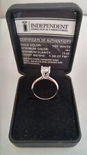 Ring white gold 14 carats, 1 Round diamond of 1 carat, NEW