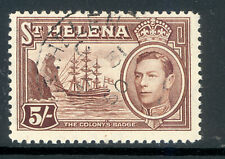 ST HELENA SG 139 1938 5/-  CHOCOLATE VALUE FINE USED
