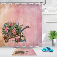 LB Wheelbarrow With Flower Bathroom Waterproof Fabric Shower Curtain & 12 Hooks