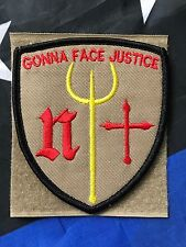 DEVGRU Poseidon NAVY SEAL TEAM ST6 Gonna Face Justice! TAN EMBROIDERED PATCH