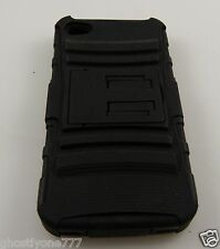 fits Iphone 4 / 4S black rubber  2 layer plastic  phone case Used kickstand