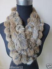 Real Rabbit Fur Scarf Winter Warm Neckercheif Handmade Natural Brown