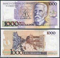 BRASIL BRAZIL 1 Nuevo Cruzado sobre 1000 1989  Pick 216 b Signature 26  SC / UNC