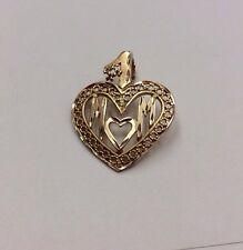 "14K REAL GOLD ""#1 MOM"" Heart Shaped Family PENDANT 2.4g"